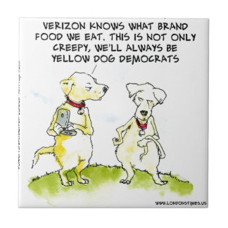 Yellow Dog Democrats Funny Small Square Tile