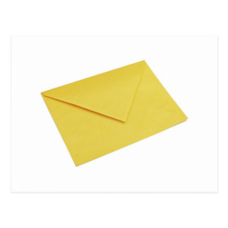 Yellow envelope isolated on white postcard