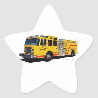 Yellow_Fire_Engine_Texturized Star Sticker