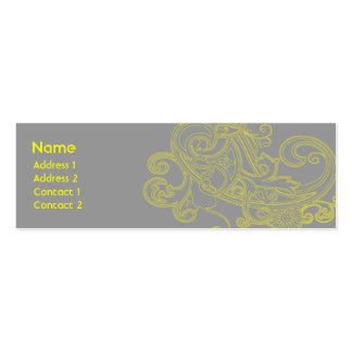 Yellow Floral Pattern - Skinny Pack Of Skinny Business Cards