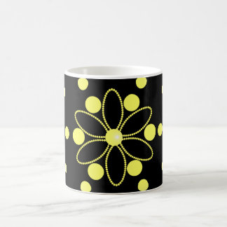 Yellow flowers and beads basic white mug