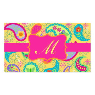 Yellow Fuchsia Pink Modern Paisley Monogram Pack Of Standard Business Cards