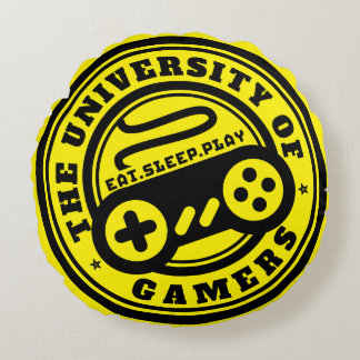 Yellow Gaming Pillow University of Gamers Logo Round Cushion