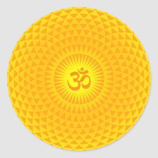 Yellow Golden Sun Lotus flower meditation wheel OM Round Sticker