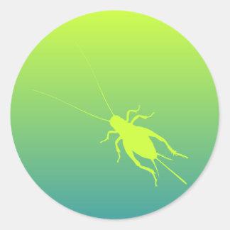 Yellow Green Cricket Round Sticker