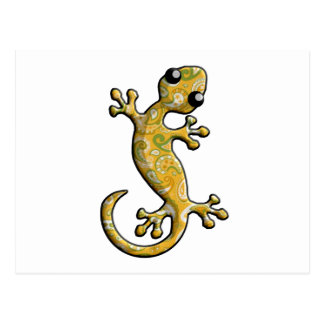 Yellow Green Paisly Climbing Gecko Lizard Postcard