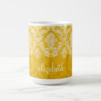Yellow Grunge Damask Pattern with Custom Text Basic White Mug