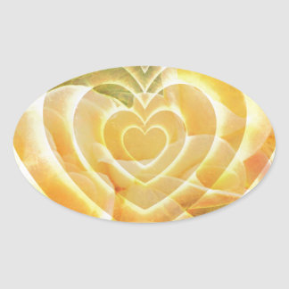 Yellow Heart Oval Sticker