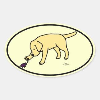 Yellow Lab Friendly Cartoon Labrador Oval Oval Sticker
