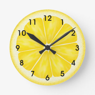 Yellow Lemon Citrus Fruit Slice Wallclock