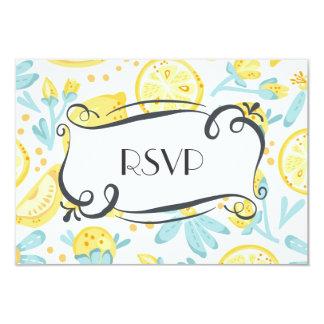 Yellow Lemons & Blue Flowers Quaint Wedding RSVP 9 Cm X 13 Cm Invitation Card