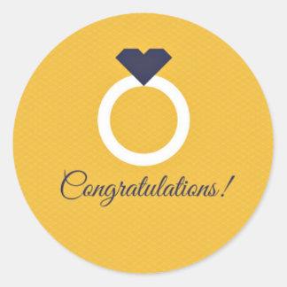 Yellow & Navy Blue Congratulations Engagement Round Sticker