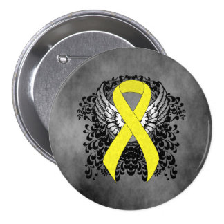 Yellow Ribbon with Wings 7.5 Cm Round Badge