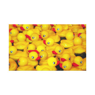 Yellow rubber duckies canvas print