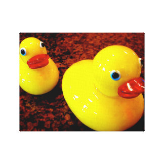 Yellow Rubber Ducks Wrapped Canvas (Gloss) Stretched Canvas Prints