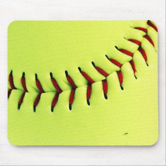 Yellow softball ball mouse pad