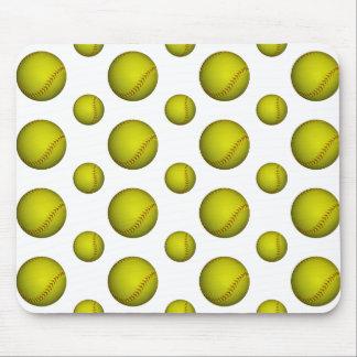 Yellow Softball / Baseball Pattern Mouse Pad