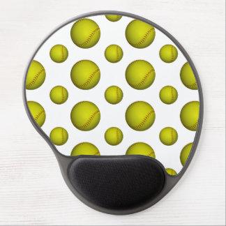 Yellow Softball Pattern Gel Mouse Pad