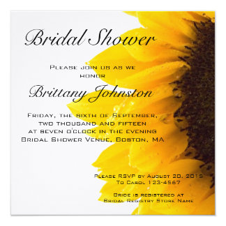 Yellow Sunflower Photo Bridal Shower Invitation