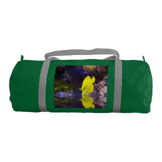 Yellow Surgeon fish looks at it's reflection Gym Duffel Bag