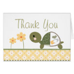 Yellow Turtle in Diapers Baby Shower Thank You Note Card