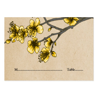 Yellow Vintage Cherry Blossoms Place Cards Pack Of Chubby Business Cards