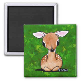 Yes Deer KiniArt Fawn Square Magnet