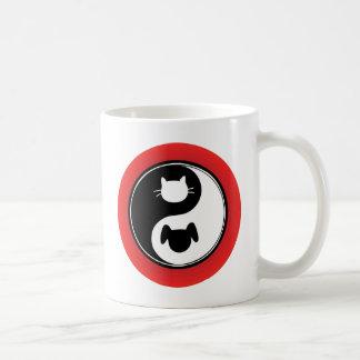 Yin Yang Cat Dog Basic White Mug