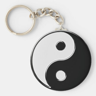 Yin Yang in Black and White Basic Round Button Key Ring