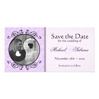 Yin & Yang Purple Floral Save the Date Photo Card