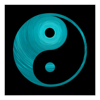 Yin Yang Teal Blue Aqua Spiral Template Black Poster