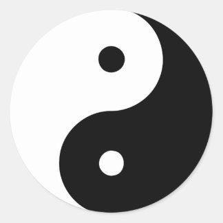Yin Yang Ying Taoism Sign Chinese Taijitu Black Round Sticker