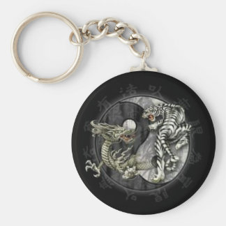Ying Yang Basic Round Button Key Ring
