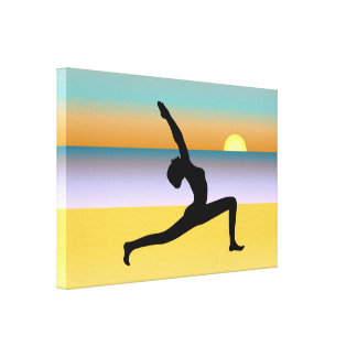 Yoga At The Beach Wrapped Canvas Art Print Stretched Canvas Prints