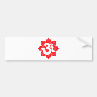 Yoga Om in Lotus Red Bumper Sticker