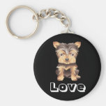 Yorkshire Terrier Puppy Dog Black Key Chain