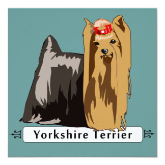 Yorkshire Terrier with Breed name 13 Cm X 13 Cm Square Invitation Card