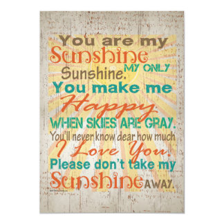 You are my Sunshine Orange/Teal/Cream 13 Cm X 18 Cm Invitation Card
