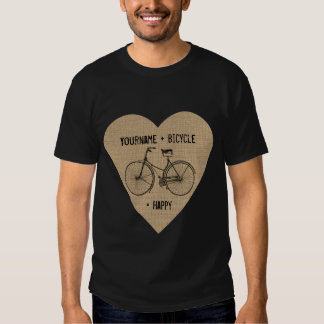 You Plus Bicycle Equals Happy Antique Heart Burlap Shirts