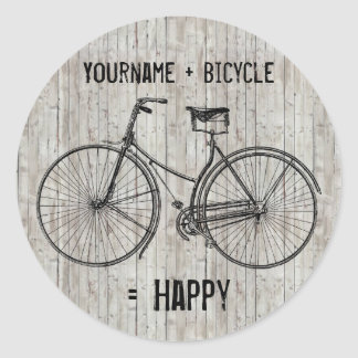 You Plus Bicycle Equals Happy Antique Wooden Plank Round Sticker