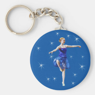 Young Ballerina in Blue Customizable Basic Round Button Key Ring