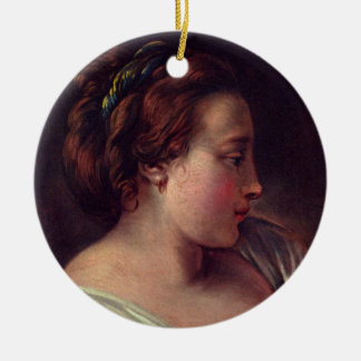 Young Girl Jeune fille by Francois Boucher Round Ceramic Decoration