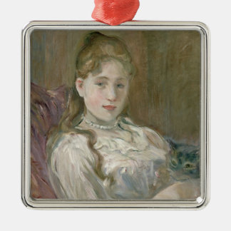 Young Girl with Cat, 1892 Silver-Colored Square Decoration