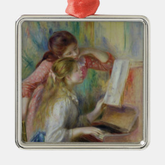 Young Girls at the Piano, c.1890 Silver-Colored Square Decoration