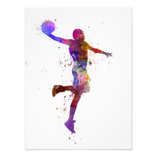 Young hand man basketball to player one slam dunk photo art