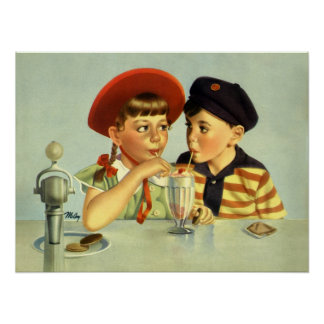 Young Lovers Vintage Illustration Poster