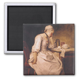 Young Woman Sleeping Square Magnet