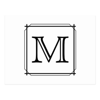 Your Letter. Custom Monogram. Black and White Postcard
