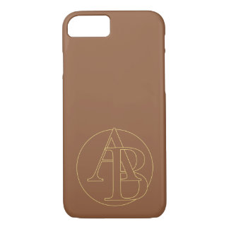 "Your monogram ""A&B"" on ""iced coffee"" background iPhone 7 Case"