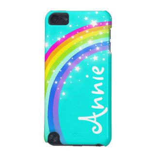 """Your name"" (5 letter) rainbow aqua ipod case"